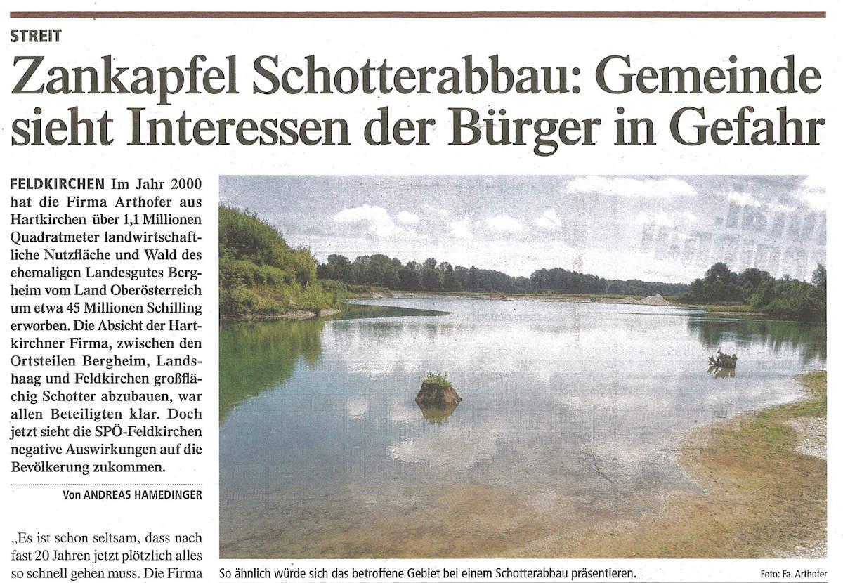 """""""Zankapfel Schotterabbau"""" – Stellungnahme von Johannes Arthofer"""